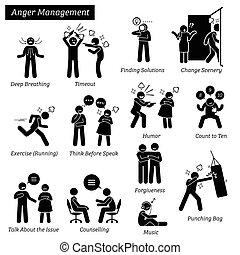 管理, 数字, pictogram, icons., 棍, 愤怒