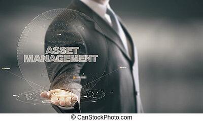 管理, 概念, ホログラム, 資産, ビジネスマン