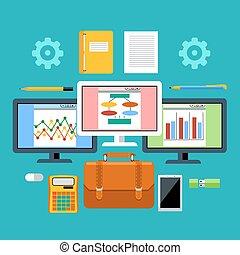 管理, 概念, 道具, 装置, デジタル