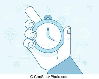 管理, 現代, -, 插圖, 矢量, 時間