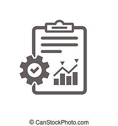 管理, 符號。, 項目, 報告, icon., 文件