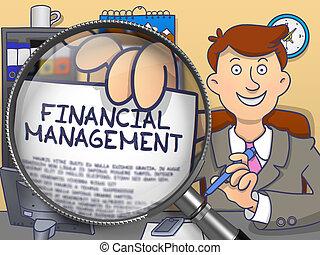 管理, 財政, いたずら書き, concept., magnifier., によって