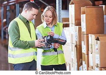 管理, 走査器, system., barcode, 労働者, 倉庫