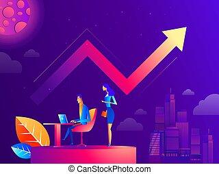 管理, 辦公室人們, graphs., 相互作用, 工作, situations., 描述商業, 矢量, 著陸, 隊, template., 工作流程, 頁
