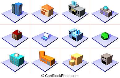 管理, 鏈子, 供應, 符號, 集合, 圖象