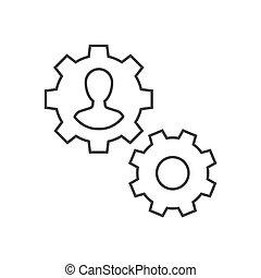 管理, outline, 内部, 描述, 齿轮, icon., 人