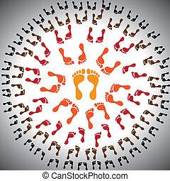 管理, setup., 階層, subordinates, 圍繞, 水平, 中心, 插圖, 一個人, 負責人, 概念,...