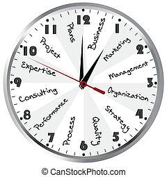 管理, time., 概念, 商业, 钟