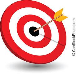箭頭權利, 在目標上, 符號, ......的, 贏得