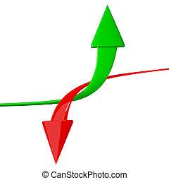 箭, 向上, 被隔离, 下來, 背景, 白色