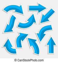 箭, 藍色, 風格, 集合, 定向, 顏色
