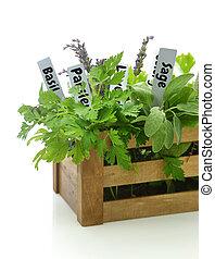 箱子, 命名, 記號, 木制, 藥草, 新鮮