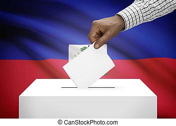 箱子, 國家,  -, 旗, 背景, 海地, 選票