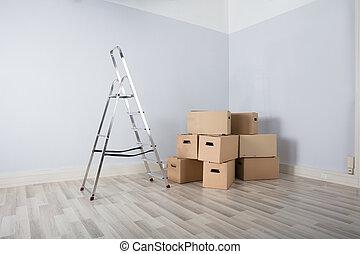 箱子, 在, 新的房子
