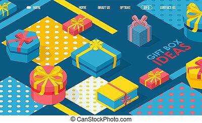 箱子, 大小, 裝飾, 鮮艷, 禮物, 矢量, 頁, 帶子, 樣板, 著陸, 形狀。, 包裹, illustration., 包裹, 禮物, 幾何學, 不同, 設計, 網站, 等量