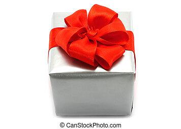 箱子, 弓, 禮物, 背景, 白色, 銀, 紅色