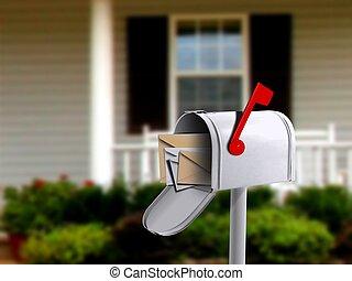 箱子, 房子, 白色, infront, 郵件