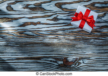 箱子, 木制, 弓, 紅的背景, 禮物