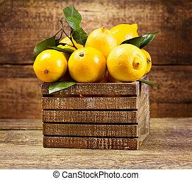 箱子, 木制, 葉子, 檸檬