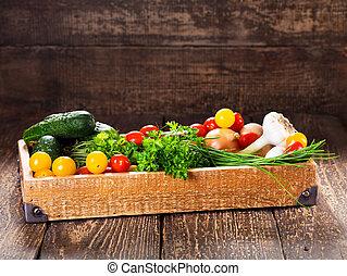 箱子, 木制, 蔬菜, 藥草