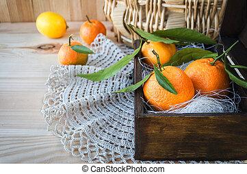 箱子, 木制, 離開, 橘子, 新鮮