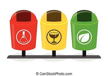 箱子, 浪費, 有机, 分開, 垃圾, 分開, degradable, 分離, 瓶子, 再循環, inorganic, 垃圾