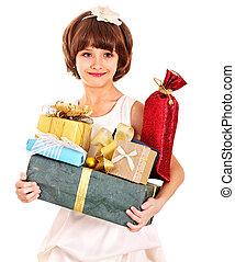 箱子, 生日, 禮物, 金, 孩子