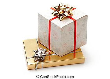 箱子, 白色 背景, 禮物弓