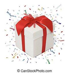 箱子, 白色 背景, 禮物, confetti.