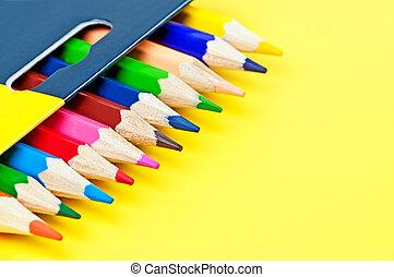 箱子, ......的, 被給上色鉛筆, 上, a, 黃色, 背景。
