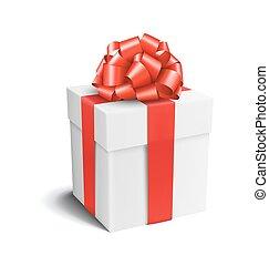 箱子, 禮物弓, 白色紅, 慶祝