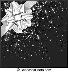 箱子, 禮物, 灰色, 弓, 五彩紙屑, 聖誕節, 銀