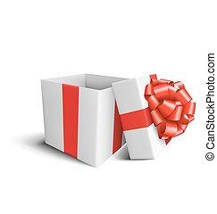 箱子, 禮物, 被隔离, 弓, 白色紅, 慶祝