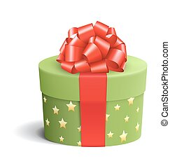 箱子, 禮物, 被隔离, 弓, 綠色白色, 紅色, 慶祝
