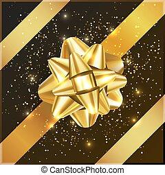 箱子, 禮物, 金, 黃色, 弓, 五彩紙屑, 聖誕節