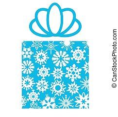 箱子, 禮物, 雪花, 白色