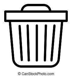 箱子, 网, 風格, white., 10., outline, 垃圾, 被隔离, 插圖, eps, app., 矢量, 設計, icon., 線, 垃圾, 設計, 罐頭