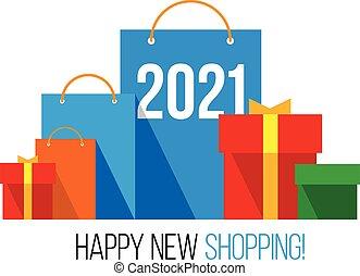 箱子, 購物, 新年, 2021, 鮮艷, shopping., 集合, 禮物, 紙袋, 數字