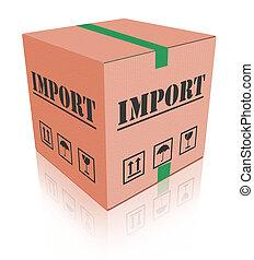 箱子, 進口, carboard, 發貨, 包裹