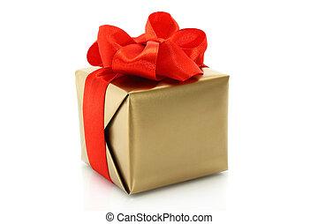 箱子, 金弓, 禮物, 背景, 白色紅