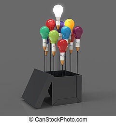 箱子, 鉛筆, 概念, 光, 想法, 創造性, 外面, 領導, 燈泡, 圖畫, 認為