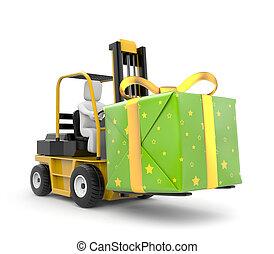 箱子, 鏟車, 禮物