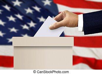 箱子, 鑄件, 手, 人, 投票, 選票
