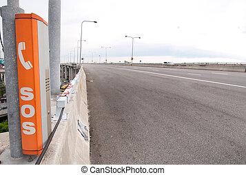 箱子, 電話, sos, 高速公路 簽署