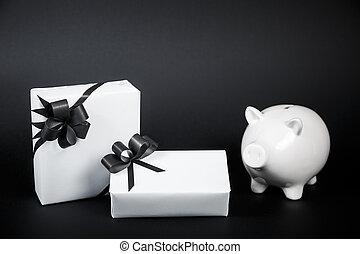 箱子, 風格, 錢, 被隔离, 禮物, 背景。, 黑色, 豬一般的銀行