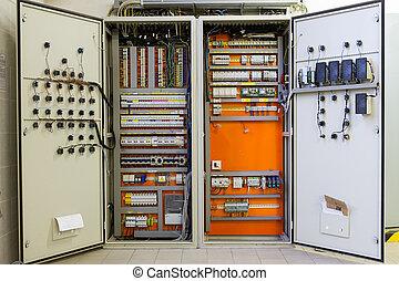 箱子, fu, 電, 破碎機, 電路, 電線, 分配