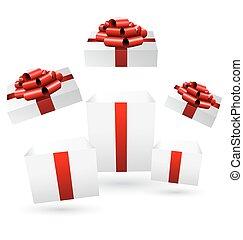 箱子, grayscale, 禮物, 打開