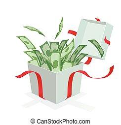 箱, お金, から, 贈り物, 到来