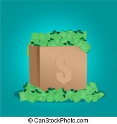 箱, お金, ベクトル