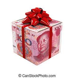 箱, お金,  Yuan, 中国語, 贈り物